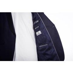 WILVORST Smoking Sakko Mitternachtsblau Schwarzblau Glänzend Super Slim Line DROP 8 sehr schmal geschnitten mit runden Schalkragen