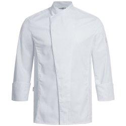 Greiff gastro moda Herren Cuisine Premium Kochjacke Regular Fit Weiß mit Satinstreifen Modell 5544
