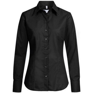 Greiff Corporate Wear Basic Damen Bluse Langarm Regular Fit Schwarz Modell 6515