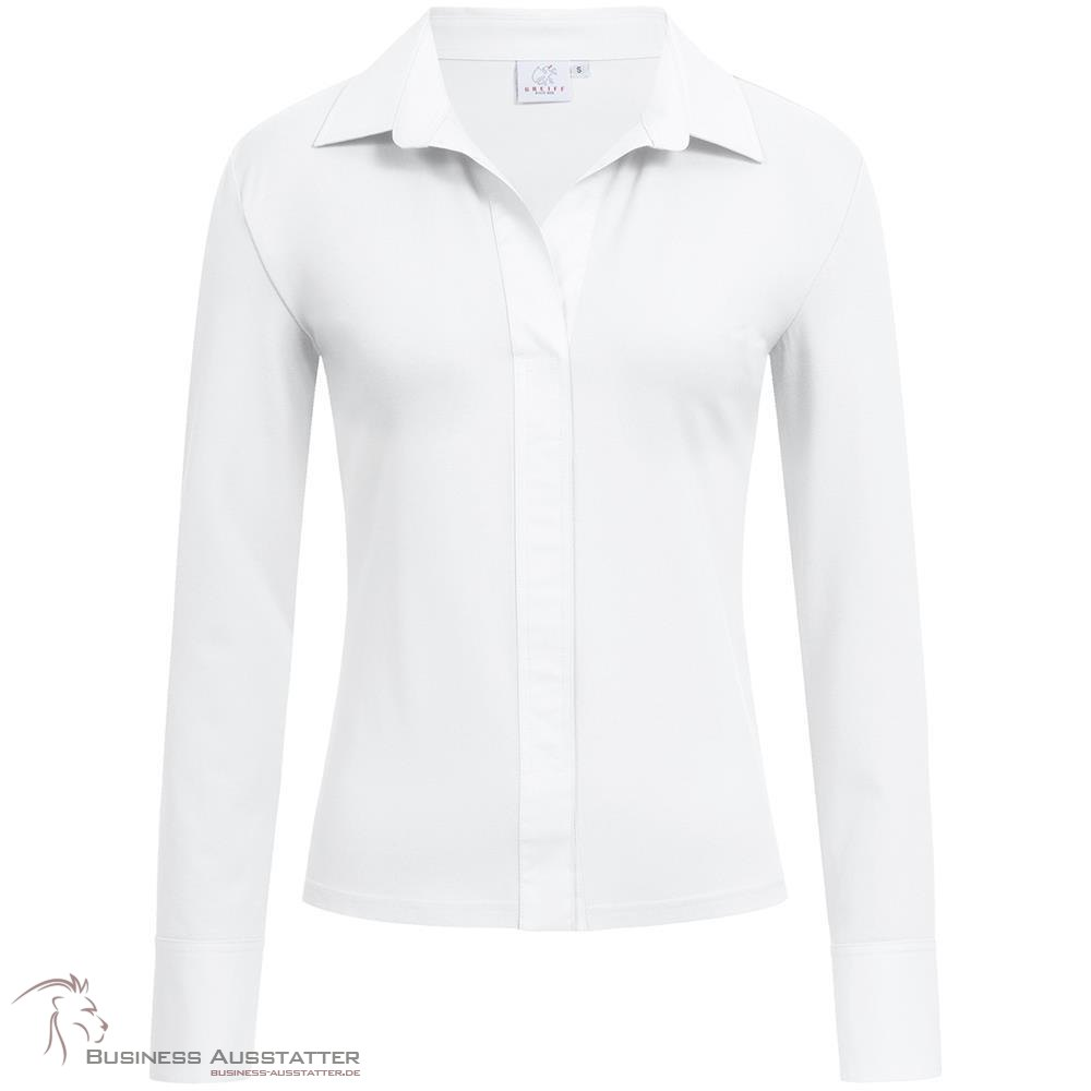 a9d301366be5d0 Greiff Corporate Wear Damen Shirtbluse Regular Fit Langarm Weiß Modell 6861