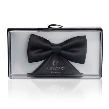 WILVORST Classics Schleife Fliege mit Einstecktuch Schwarz 100% Polyester