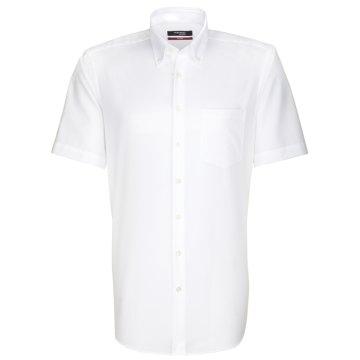 Seidensticker Schwarze Rose Hemd Modern Fit Weiss Halbarm Fil a Fil leicht tailliert geschnitten Button-Down-Kragen 100% Baumwolle Bügelfrei
