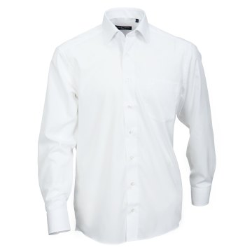 Casamoda Hemd Weiss Uni Langarm Comfort Fit Normal Geschnitten Kentkragen 100% Baumwolle Bügelfrei