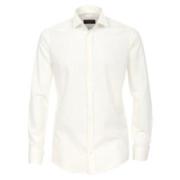 Casamoda Festhemd Creme Uni Langarm Modern Fit Schmal geschnitten Umschlagmanschette Kläppchenkragen 100% Baumwolle Bügelfrei