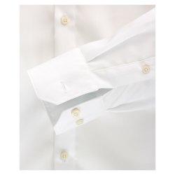 Venti Hemd Weiss Uni Langarm Slim Fit Tailliert Kentkragen 100% Baumwolle Popeline Bügelfrei