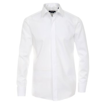 Größe 44 Casamoda Festhemd Weiss Uni Langarm Normaler Schnitt Umschlagmanschette Kentkragen 100% Baumwolle Bügelfrei