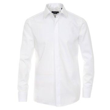 Größe 49 Casamoda Festhemd Weiss Uni Langarm Normaler Schnitt Umschlagmanschette Kentkragen 100% Baumwolle Bügelfrei