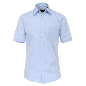 Casamoda Hemd Blau Uni Kurzarm Comfort Fit Normal Geschnitten Kentkragen 100% Baumwolle Bügelfrei