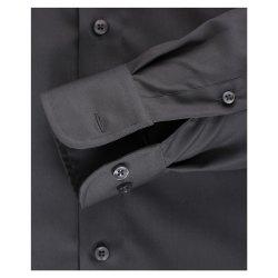 Größe 38 Casamoda Hemd Anthrazit Uni Langarm Comfort Fit Normal Geschnitten Kentkragen 100% Baumwolle Bügelfrei