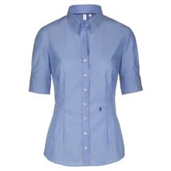 Größe 36 Seidensticker Schwarze Rose Bluse Slim Fit Blau Kurzarm Fil á Fil  tailliert geschnitten Kentkragen 100% Baumwolle Bügelfrei 1f5c243a7a