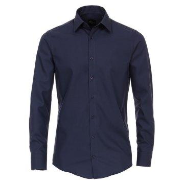 Venti Hemd Graublau Uni Langarm Slim Fit Tailliert Kentkragen 100% Baumwolle Popeline Bügelfrei