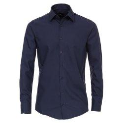Venti Hemd Graublau Uni Langarm Slim Fit Tailliert...