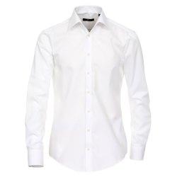 Größe 37 Venti Hemd Weiss Uni Langarm Slim Fit Tailliert Kentkragen 100% Baumwolle Popeline Bügelfrei