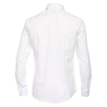 Größe 38 Venti Hemd Weiss Uni Langarm Slim Fit Tailliert Kentkragen 100% Baumwolle Popeline Bügelfrei