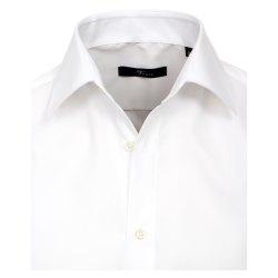 Größe 45 Venti Hemd Weiss Uni Langarm Slim Fit Tailliert Kentkragen 100% Baumwolle Popeline Bügelfrei