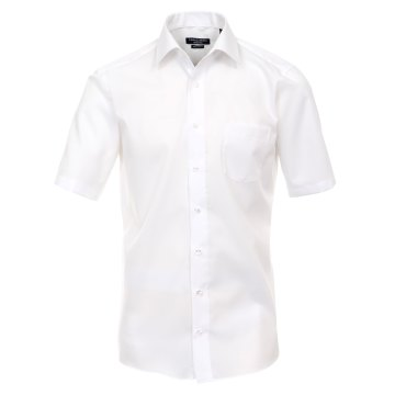 Größe 50 Casamoda Hemd Weiss Uni Kurzarm Comfort Fit Normal Geschnitten Kentkragen 100% Baumwolle Bügelfrei