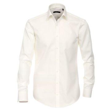 Venti Hemd Creme Uni Langarm Slim Fit Tailliert Kentkragen 100% Baumwolle Popeline Bügelfrei