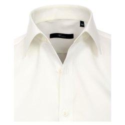 Größe 38 Venti Hemd Creme Uni Langarm Slim Fit Tailliert Kentkragen 100% Baumwolle Popeline Bügelfrei