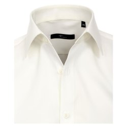Größe 40 Venti Hemd Creme Uni Langarm Slim Fit Tailliert Kentkragen 100% Baumwolle Popeline Bügelfrei