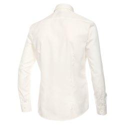 Größe 42 Venti Hemd Creme Uni Langarm Slim Fit Tailliert Kentkragen 100% Baumwolle Popeline Bügelfrei