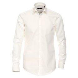 Größe 46 Venti Hemd Creme Uni Langarm Slim Fit Tailliert Kentkragen 100% Baumwolle Popeline Bügelfrei