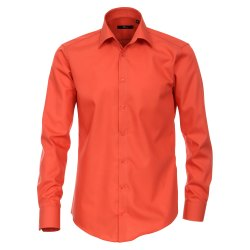 Venti Hemd Orange Uni Langarm Slim Fit Tailliert...