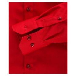 Venti Hemd Rot Uni Langarm Slim Fit Tailliert Kentkragen 100% Baumwolle Popeline Bügelfrei