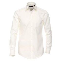Größe 39 Venti Hemd Creme Uni 69er Extralanger Arm Slim Fit Tailliert Kentkragen 100% Baumwolle Bügelfrei