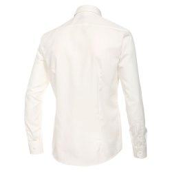 Größe 42 Venti Hemd Creme Uni 69er Extralanger Arm Slim Fit Tailliert Kentkragen 100% Baumwolle Bügelfrei