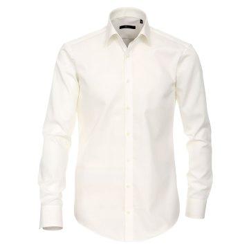 Größe 42 Venti Hemd Creme Uni 72er Extralanger Arm Slim Fit Tailliert Kentkragen 100% Baumwolle Bügelfrei