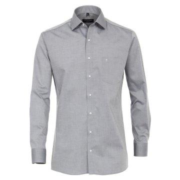 Casamoda Hemd Grau Langarm Popeline uninah Modern Fit leicht tailliert geschnitten Kentkragen 100% Baumwolle Bügelleicht