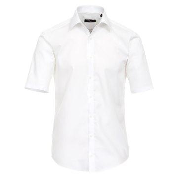 Größe 39 Venti Hemd Weiss Uni Kurzarm Slim Fit Tailliert Kentkragen 100% Baumwolle Popeline Bügelfrei