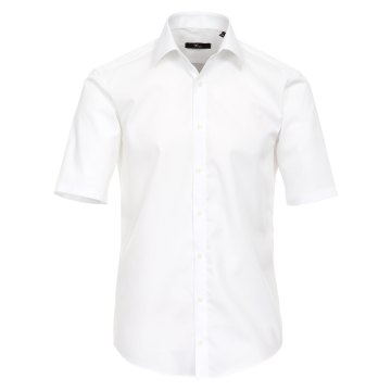 Größe 43 Venti Hemd Weiss Uni Kurzarm Slim Fit Tailliert Kentkragen 100% Baumwolle Popeline Bügelfrei