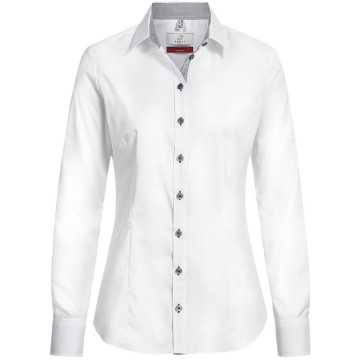Größe 36 Greiff Corporate Wear Modern with 37.5 Damen Bluse Langarm Slim Fit Weiß mit grauen Kontrasten Modell 65191