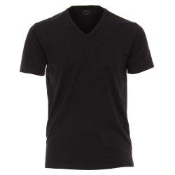 Venti T-Shirt 2er Set Schwarz Kurzarm Tailliert Geschnitten V-Ausschnitt 95% Baumwolle 5% Elasthan