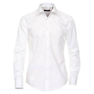 Größe 43 Venti Hemd Weiss Uni 69er Extralanger Arm Slim Fit Tailliert Kentkragen 100% Baumwolle Bügelfrei