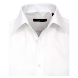 Größe 45 Venti Hemd Weiss Uni 69er Extralanger Arm Slim Fit Tailliert Kentkragen 100% Baumwolle Bügelfrei
