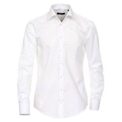 Größe 39 Venti Hemd Weiss Uni 72er Extralanger Arm Slim Fit Tailliert Kentkragen 100% Baumwolle Bügelfrei