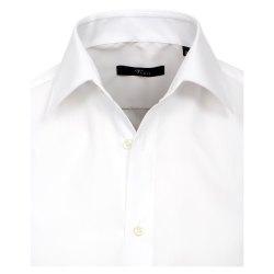 Größe 40 Venti Hemd Weiss Uni 72er Extralanger Arm Slim Fit Tailliert Kentkragen 100% Baumwolle Bügelfrei