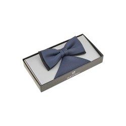 WILVORST Schleife Fliege mit Einstecktuch Blau mit...