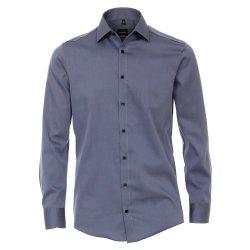 Venti Hemd Blau Uni Twill Langarm Modern Fit Tailliert...