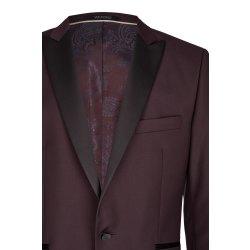WILVORST Smoking Sakko Bordeaux Rot Slim Line DROP 8 sehr schmal geschnitten Spitzfasson Wolle-Mohair-Mix New Colours Cool Classics 471201/52