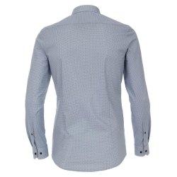 Venti Hemd mit modischem Druck Blau mit Besatz Langarm Body Fit Extra Schmal Geschnitten Kentkragen 97% Baumwolle 3% Elasthan Bügelleicht