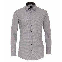 Venti Hemd mit modischem Druck Schwarz Grau mit Besatz...
