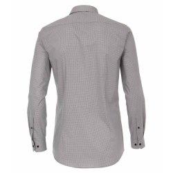 Venti Hemd mit modischem Druck Schwarz Grau mit Besatz Langarm Body Fit Extra Schmal Geschnitten Kentkragen 97% Baumwolle 3% Elasthan Bügelleicht