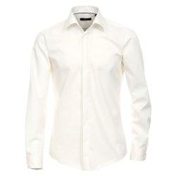 Venti Fest Hemd Creme Uni Langarm Slim Fit Umschlagmanschette Verdeckte Knopfleiste Kentkragen 100% Baumwolle Bügelfrei