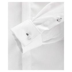 Venti Fest Hemd Weiss Uni Langarm Slim Fit Umschlagmanschette Verdeckte Knopfleiste Kentkragen 100% Baumwolle Bügelfrei