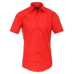 Venti Hemd Rot Uni Kurzarm Body Stretch Extra Schmal...