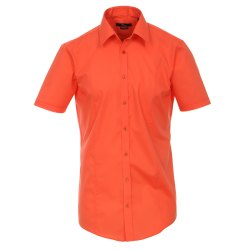 Venti Hemd Orange Uni Kurzarm Body Stretch Extra Schmal...