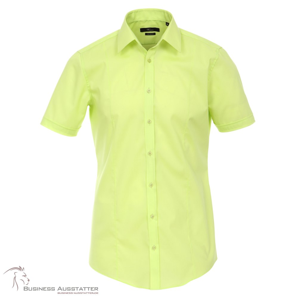 VENTI Hemd Tailliert Kurzarm Hellgrün Kentkragen 100/% feinste Baumwolle